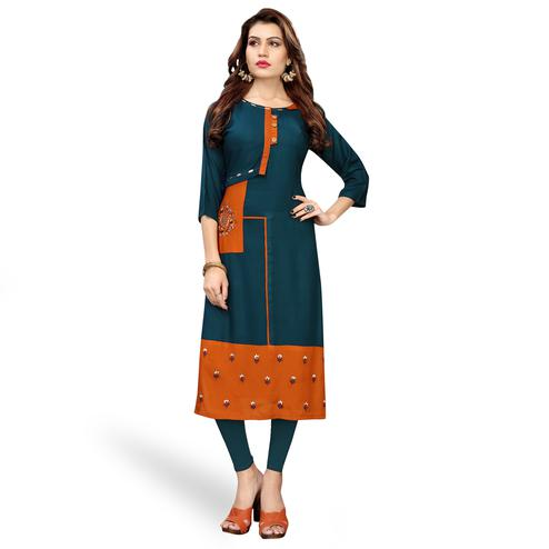 Flamboyant Stone Blue Colored Partywear Embroidered Rayon Kurti