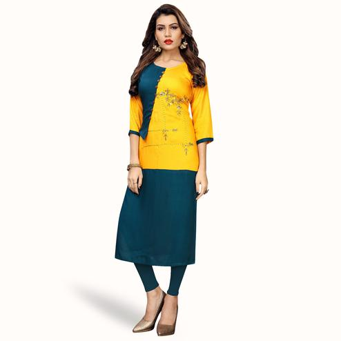 Alluring Yellow-Stone Blue Colored Partywear Embroidered Rayon Kurti
