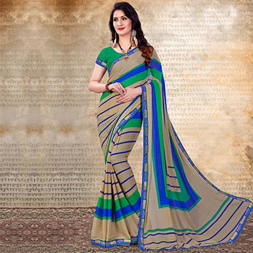Beige Casual Striped Chiffon Saree