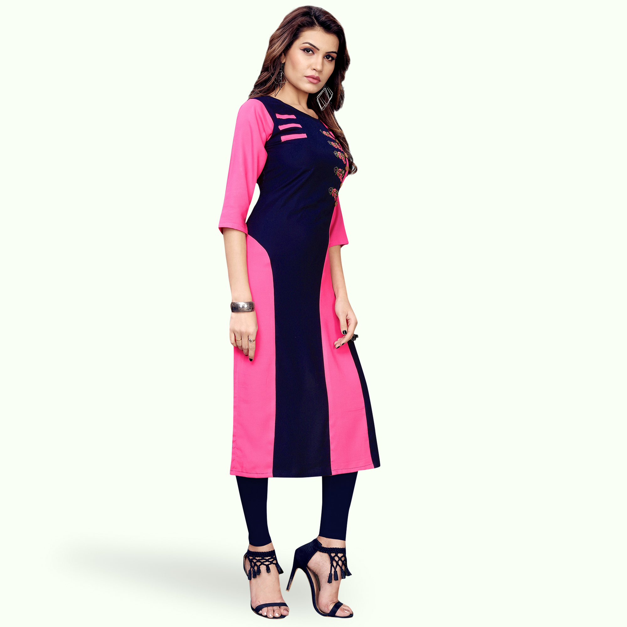 Sensational Pink-Navy Blue Colored Partywear Embroidered Rayon Kurti