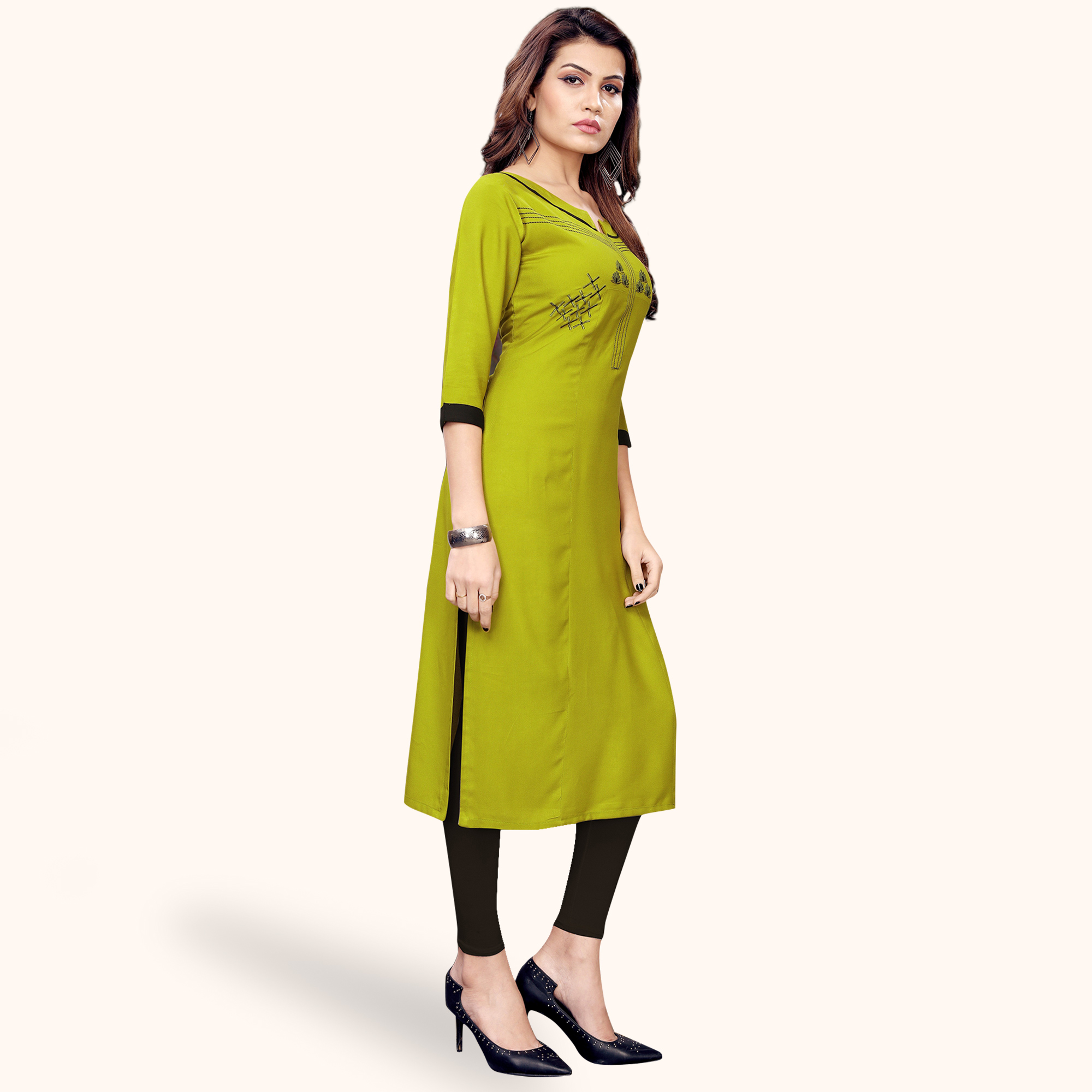 Flaunt Green Colored Partywear Embroidered Rayon Kurti