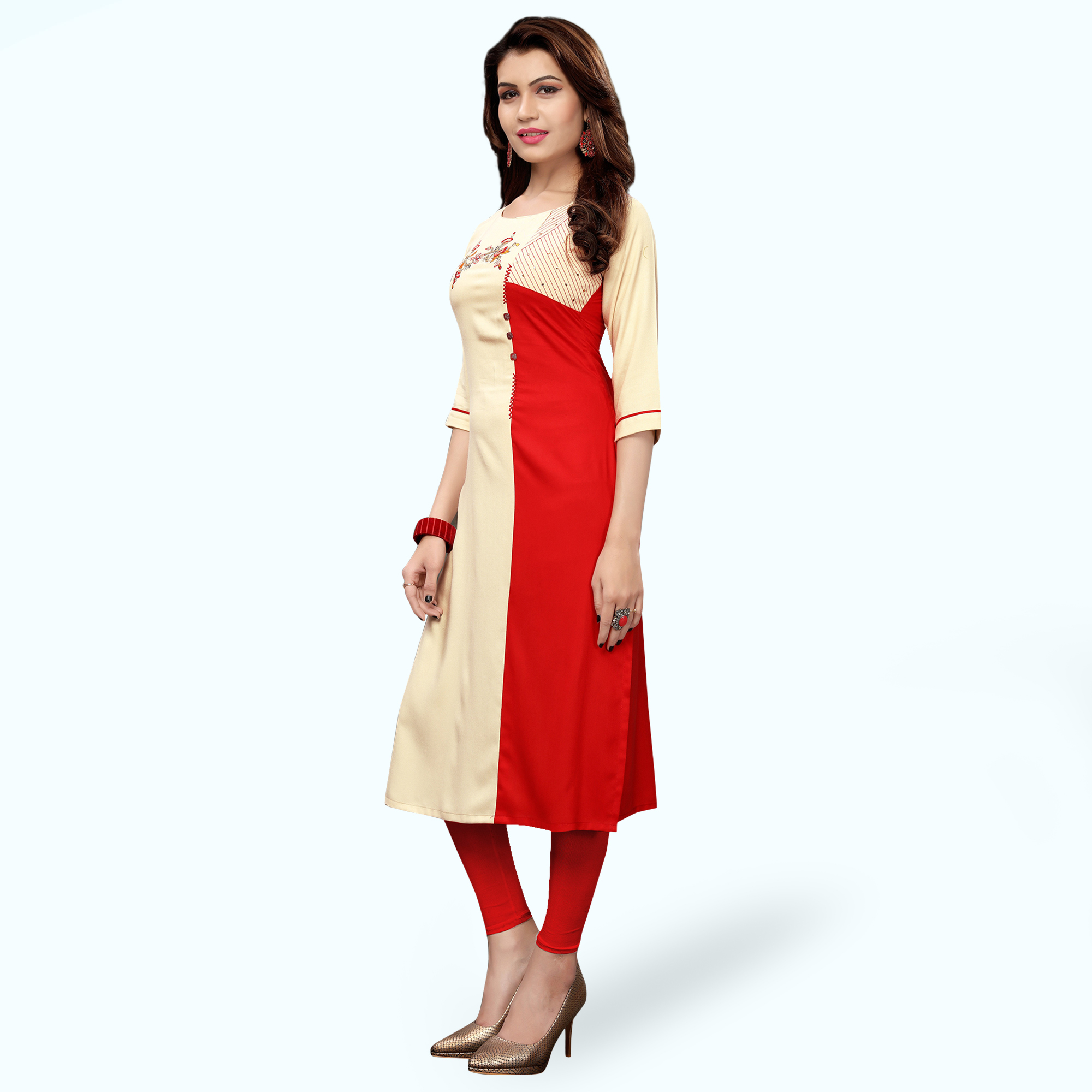 Amazing Cream-Red Colored Partywear Embroidered Rayon Kurti