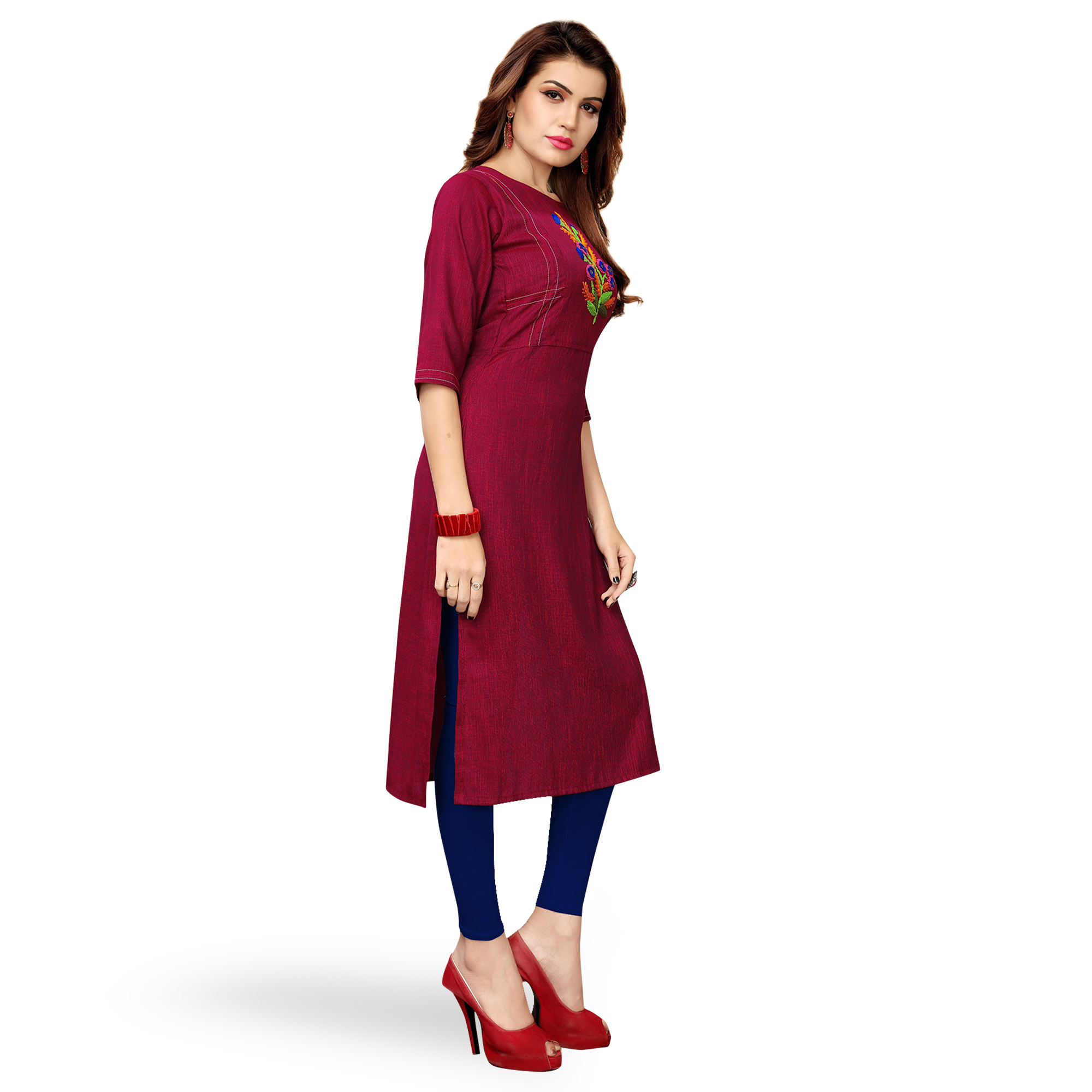 Gorgeous Deep Magenta Pink Colored Partywear Embroidered Rayon Kurti