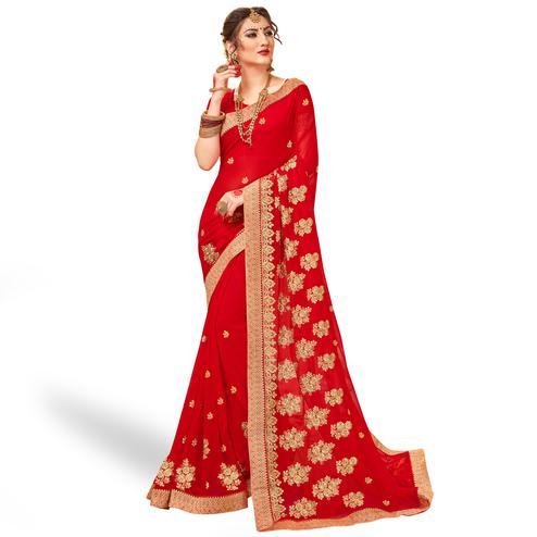 Eye-catching Red Colored Party Wear Embroidered Georgette Saree