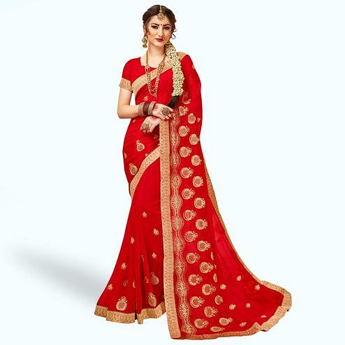 Fantastic Red Colored Party Wear Embroidered Georgette Saree