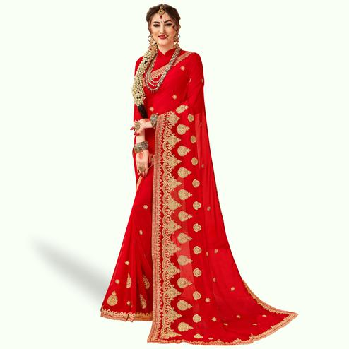 Amazing Red Colored Party Wear Embroidered Georgette Saree