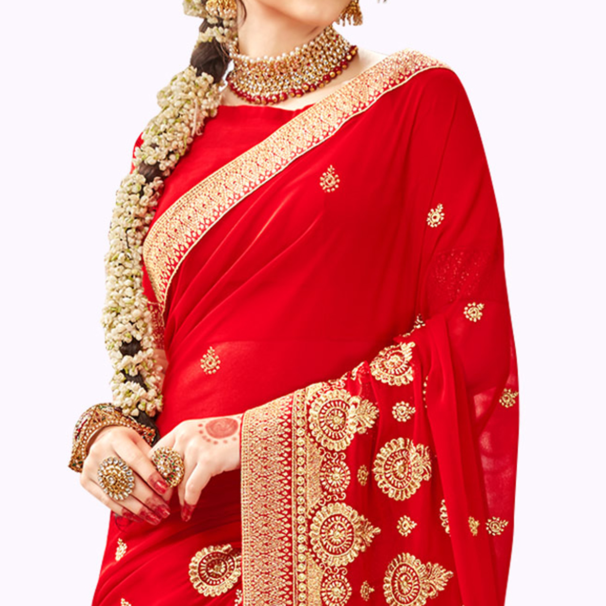 Gorgeous Red Colored Party Wear Embroidered Georgette Saree