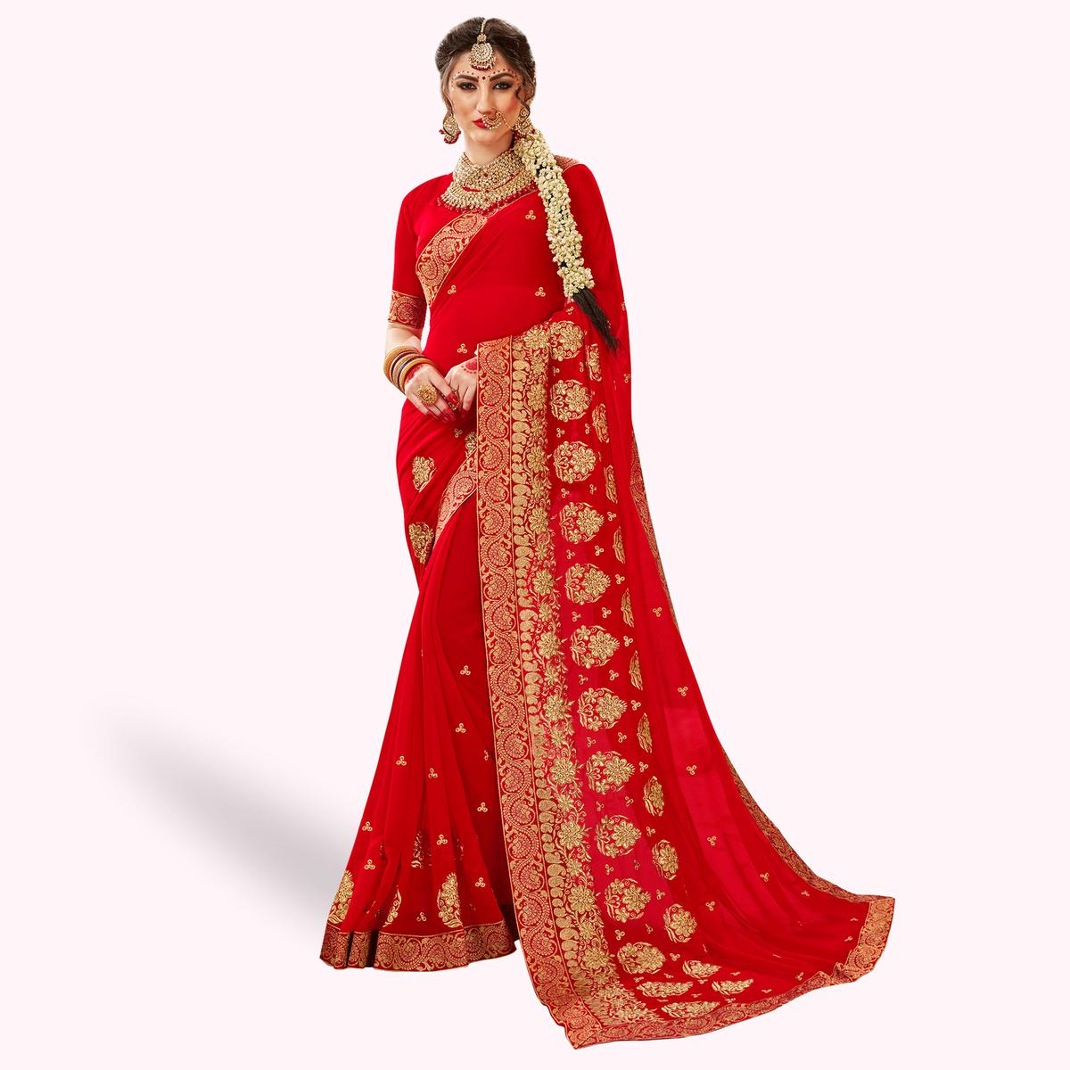 Blissful Red Colored Party Wear Embroidered Georgette Saree