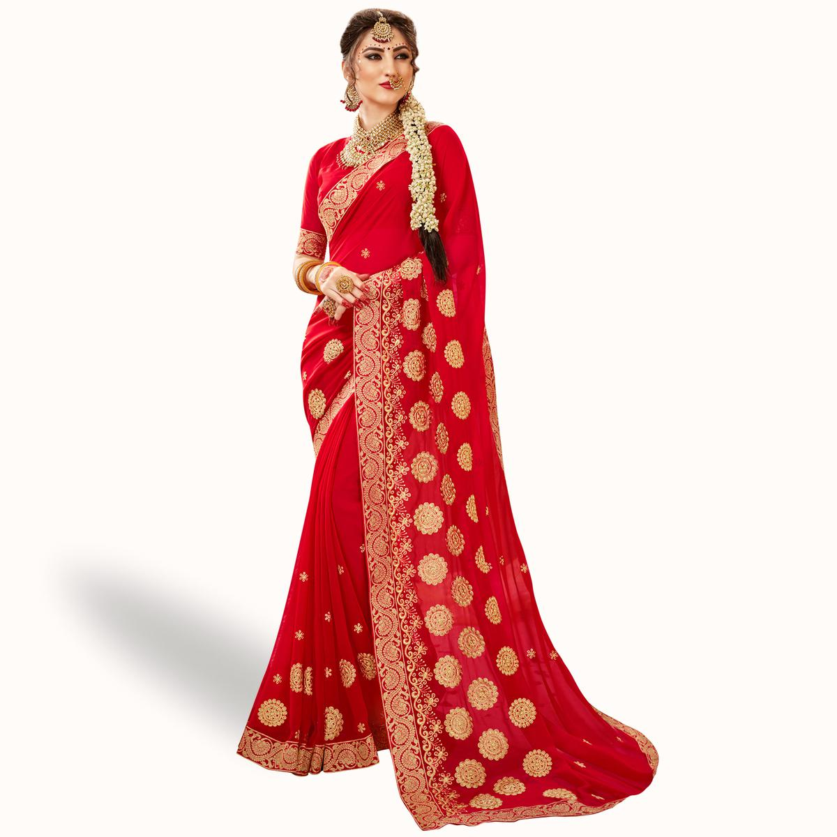 Ideal Red Colored Party Wear Embroidered Georgette Saree