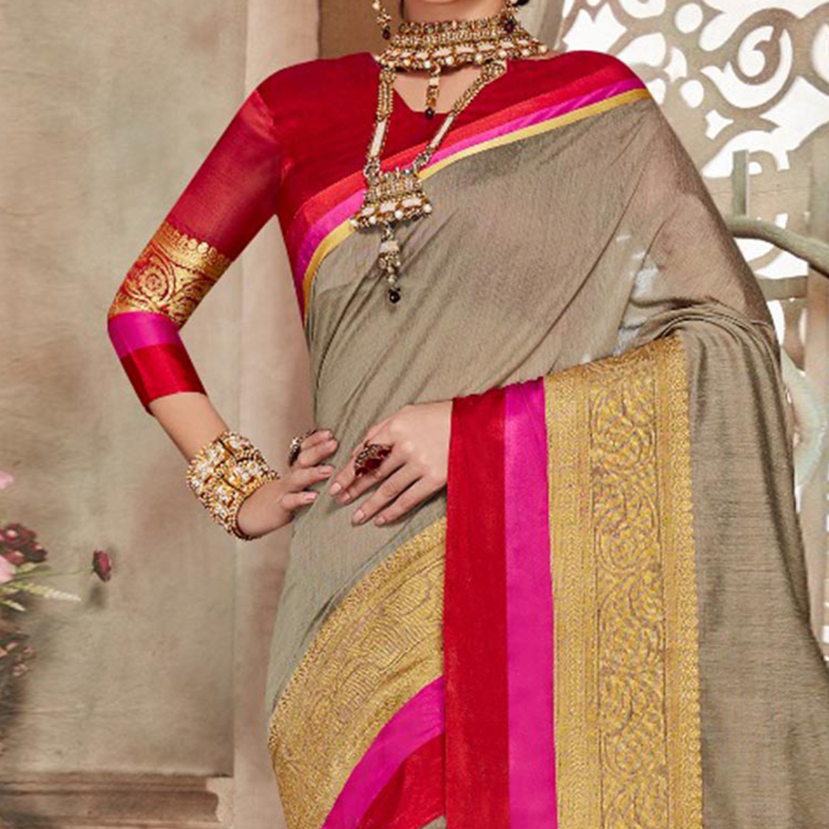 Gray Designer Festive Wear Woven Liva Silk Saree