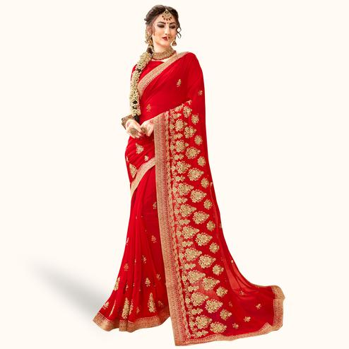 Imposing Red Colored Party Wear Embroidered Georgette Saree