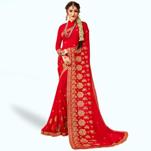 Lovely Red Colored Party Wear Embroidered Georgette Saree