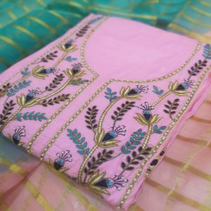 Gleaming Light Pink Colored Partywear Embroidered Cotton Dress Material