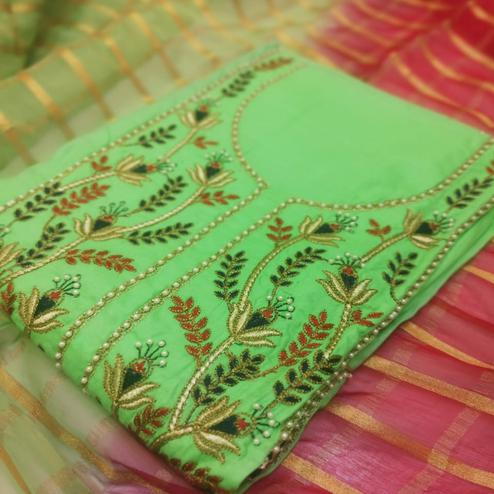 Mesmeric Green Colored Partywear Embroidered Cotton Dress Material
