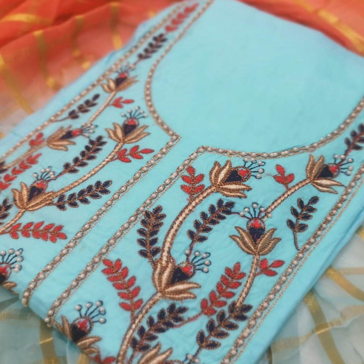 Demanding Sky Blue Colored Partywear Embroidered Cotton Dress Material