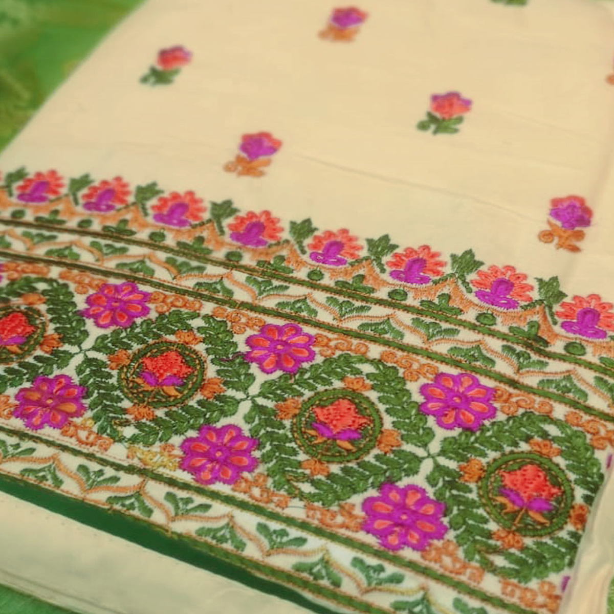 Refreshing Cream-Green Colored Partywear Embroidered Cotton Dress Material