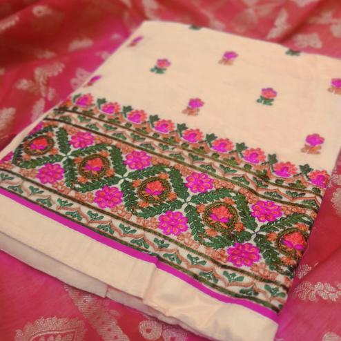 Magnetic Cream-Pink Colored Partywear Embroidered Cotton Dress Material
