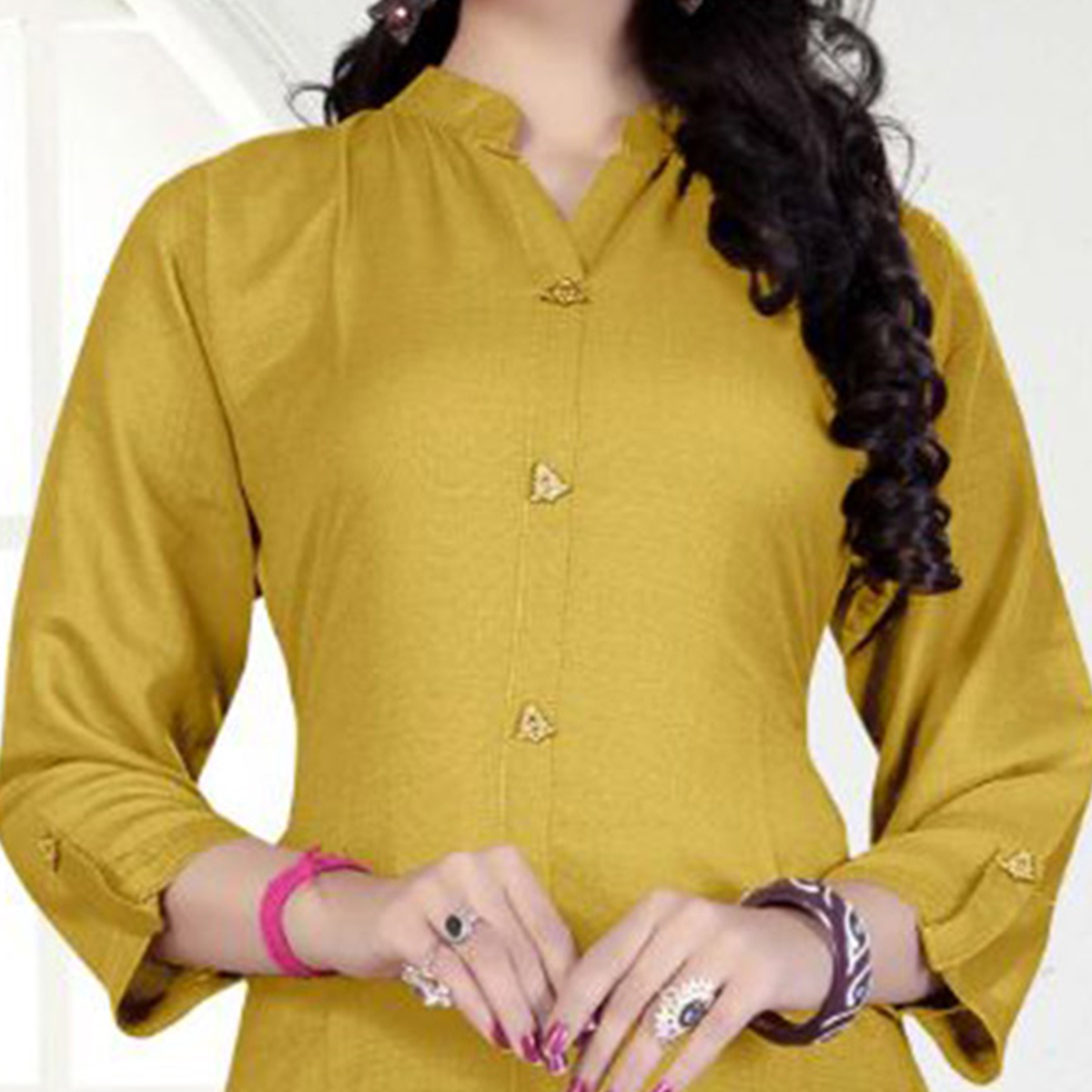 Ocher Yellow Casual Wear Rayon Kurti