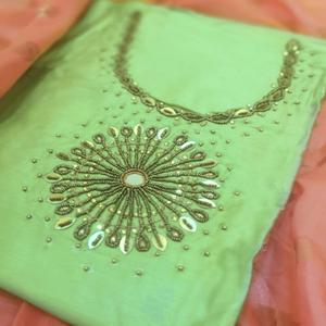 Marvellous Pista Green Colored Partywear Embroidered Cotton Dress Material
