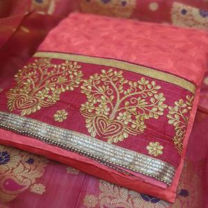 Sensational Pink Colored Partywear Embroidered Cotton Dress Material