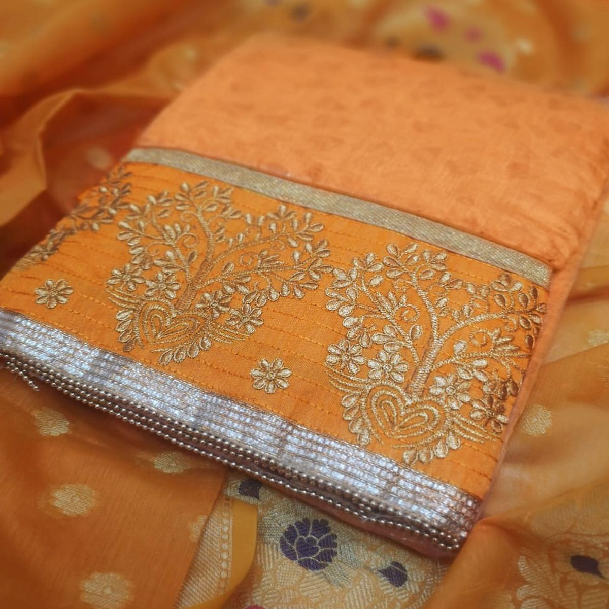 Groovy Yellow Colored Partywear Embroidered Cotton Dress Material
