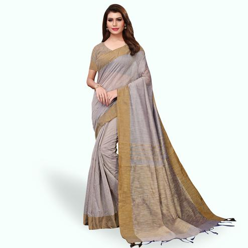 Adorable Gray Colored Festive Wear Cotton Linen Saree