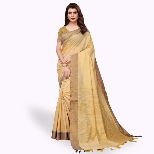 Glorious Beige Colored Festive Wear Cotton Linen Saree