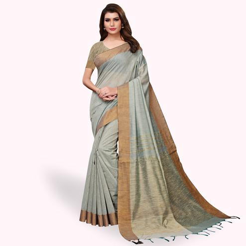 Attractive Gray Colored Festive Wear Cotton Linen Saree