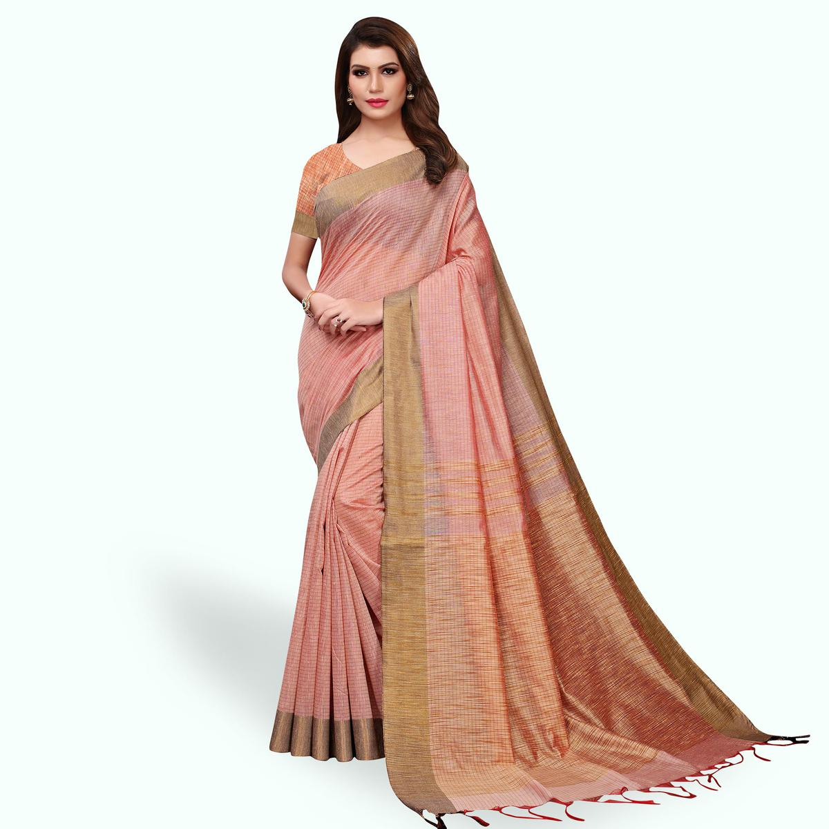 Beautiful Pastel Pink Colored Festive Wear Cotton Linen Saree