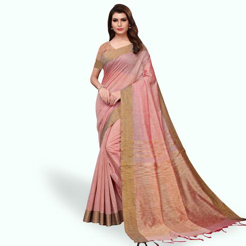 Graceful Pastel Pink Colored Festive Wear Cotton Linen Saree