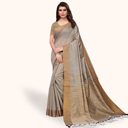 Blooming Gray Colored Festive Wear Cotton Linen Saree