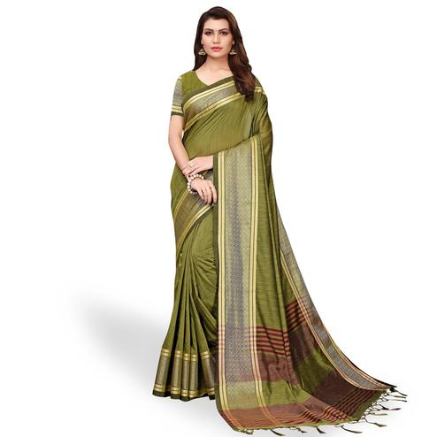 Charming Mehendi Green Colored Festive Wear Cotton Linen Saree