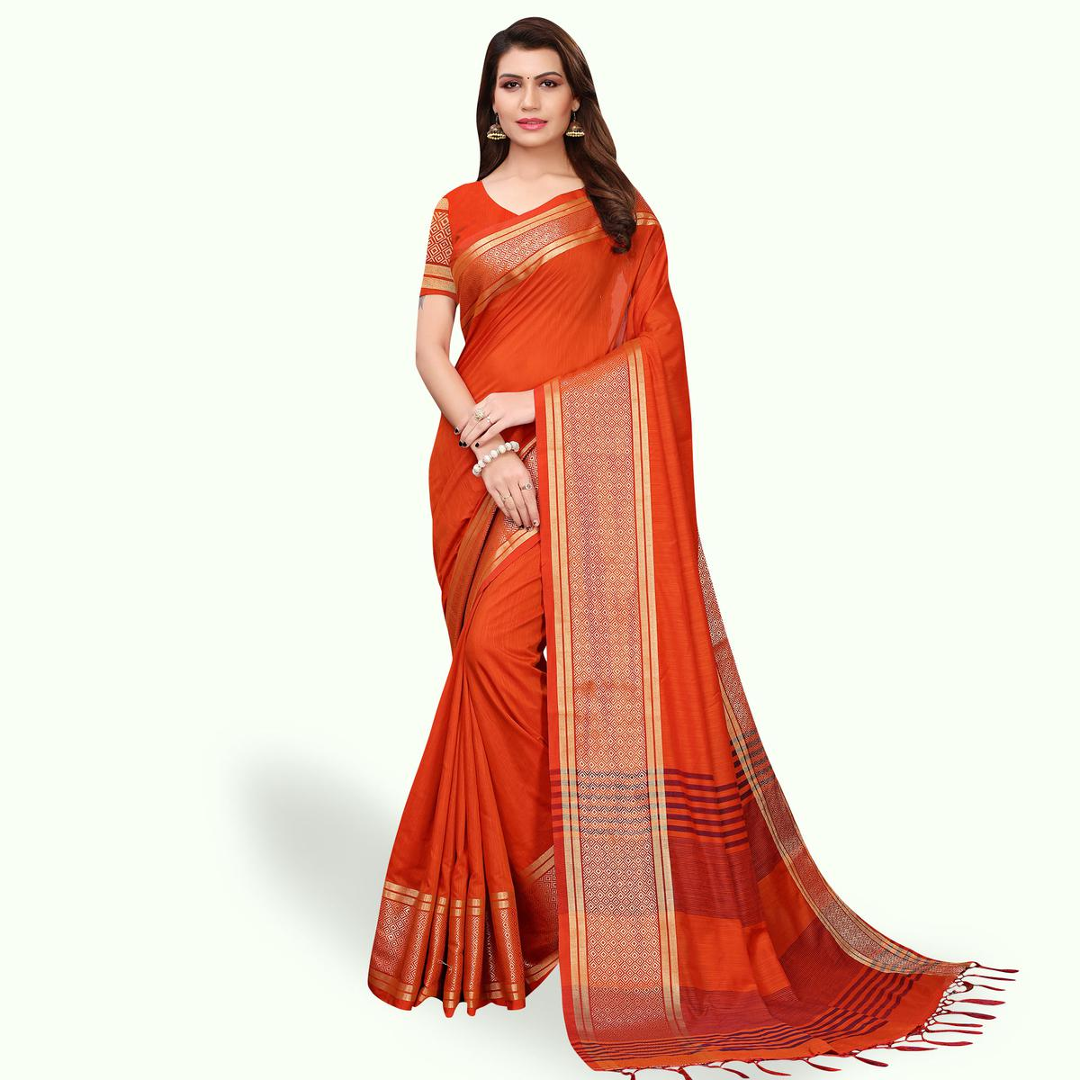 Engrossing Orange Colored Festive Wear Cotton Linen Saree