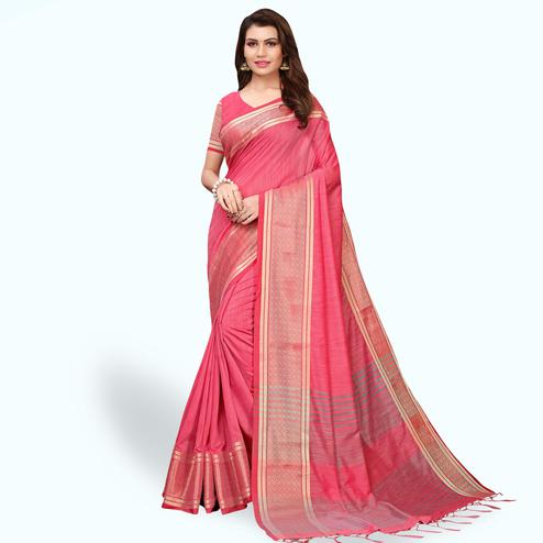 Eye-catching Pink Colored Festive Wear Cotton Linen Saree