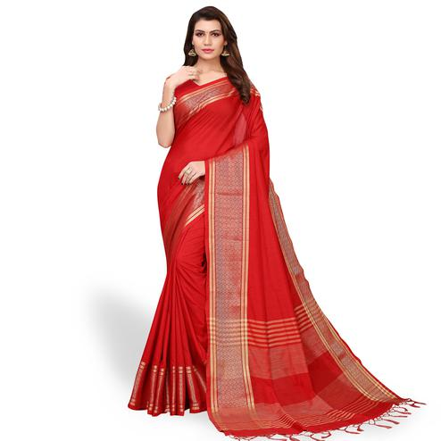 Imposing Red Colored Festive Wear Cotton Linen Saree