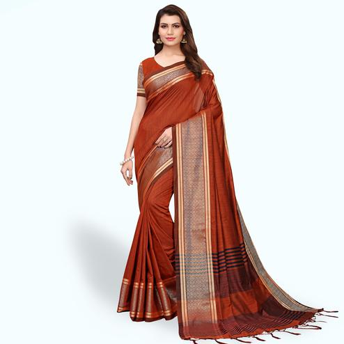 Lovely Brown Colored Festive Wear Cotton Linen Saree