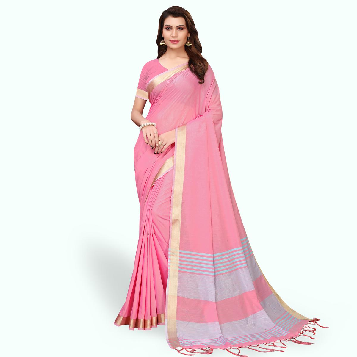 Majesty Pink Colored Festive Wear Cotton Linen Saree
