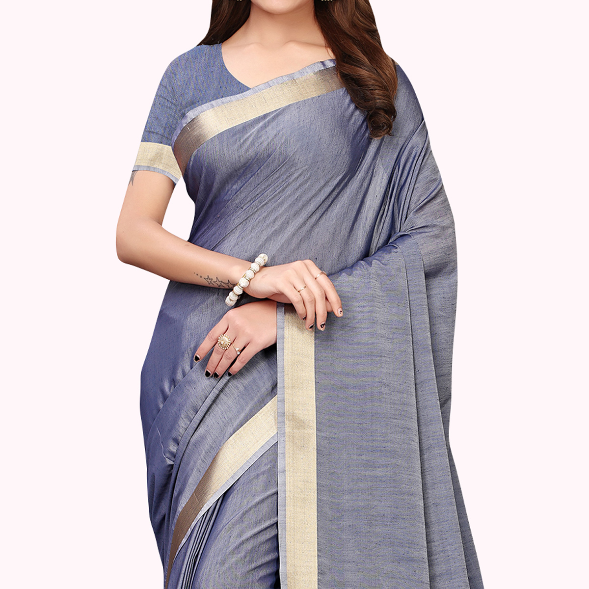 Mesmerising Slate Blue Colored Festive Wear Cotton Linen Saree