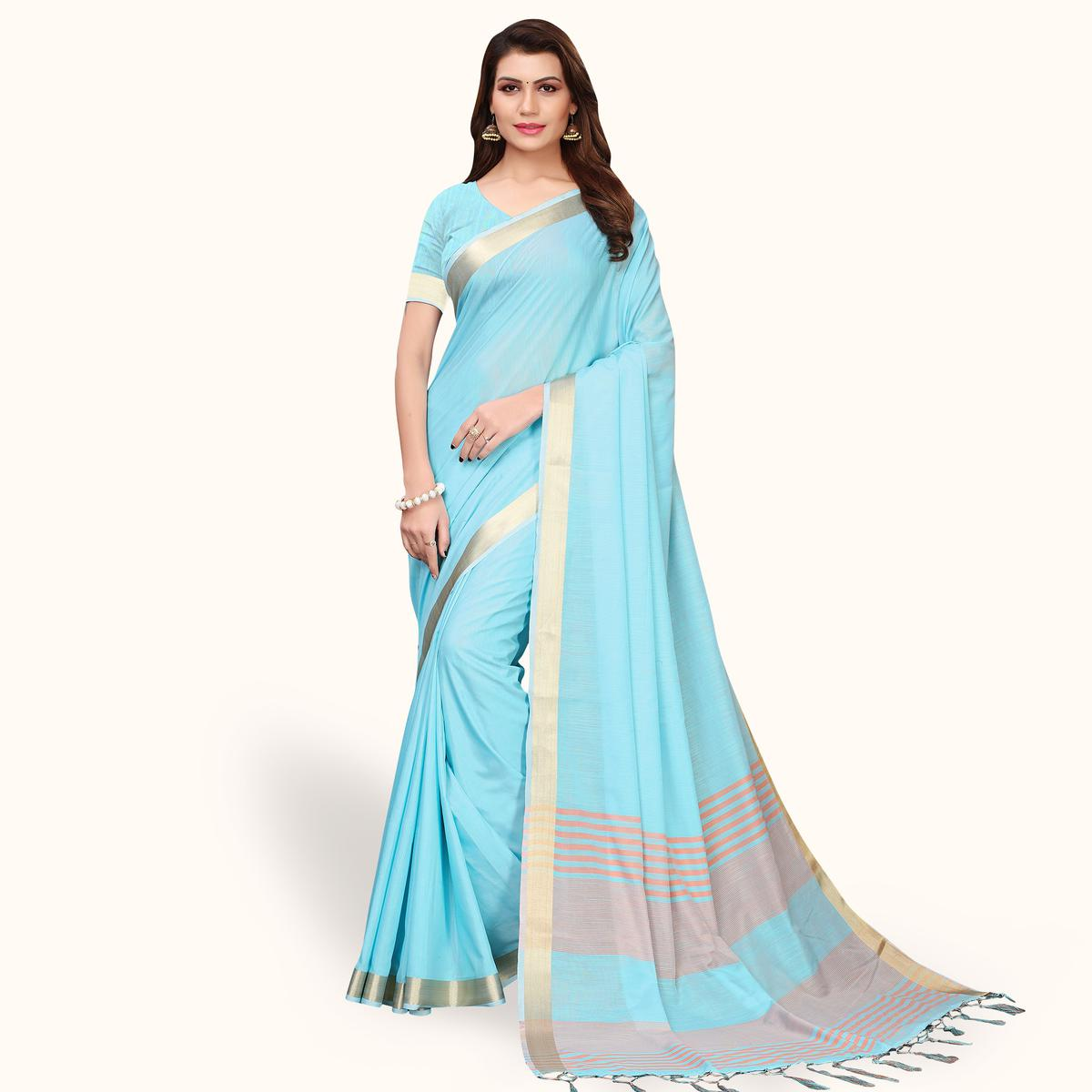 Pleasance Sky Blue Colored Festive Wear Cotton Linen Saree