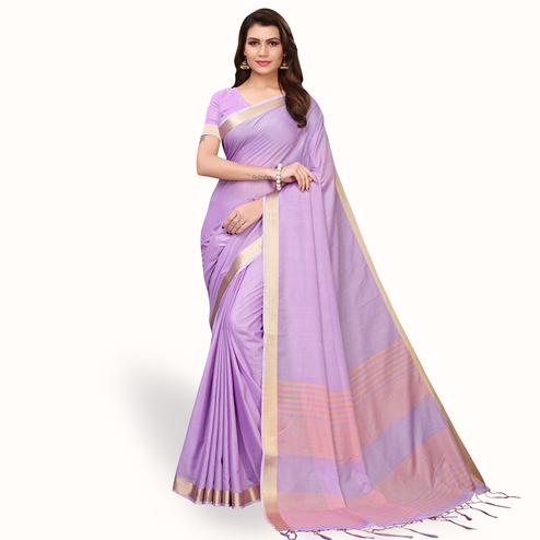 Ethnic Lavender Colored Festive Wear Cotton Linen Saree