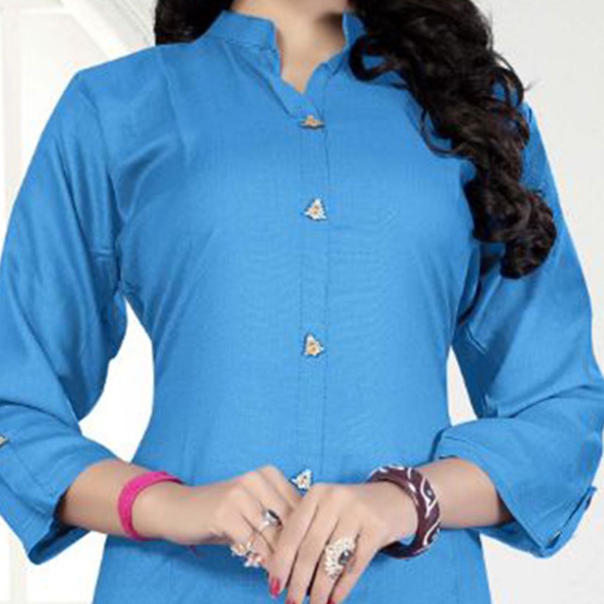 Blue Casual Wear Rayon Kurti