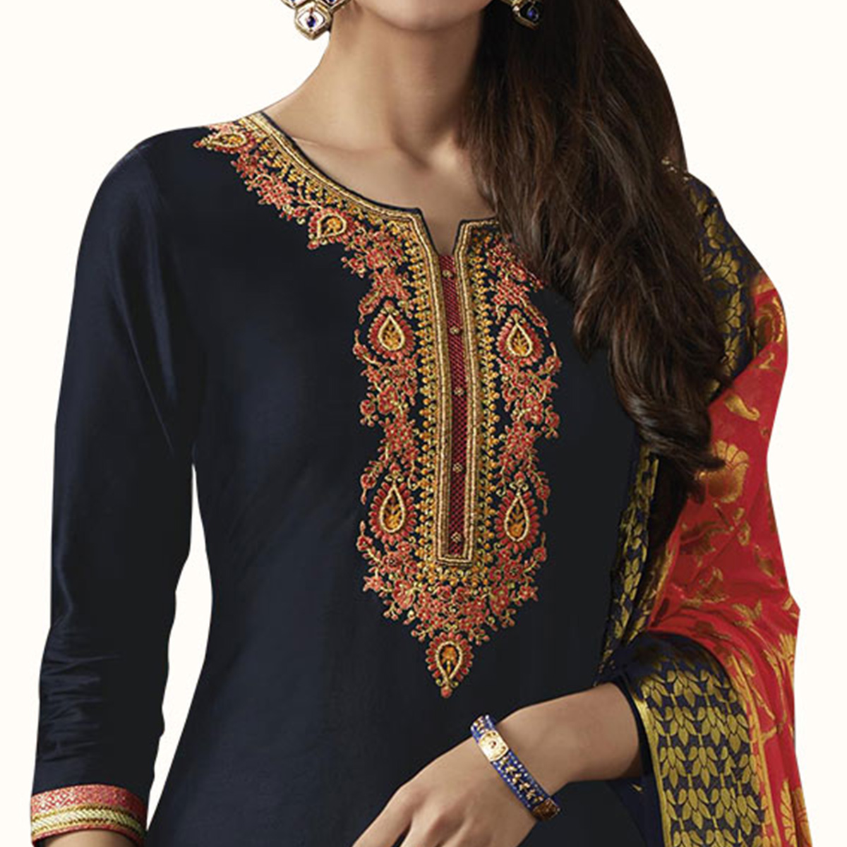 Sensational Navy Blue Colored Partywear Embroidered Silk Patiala Suit