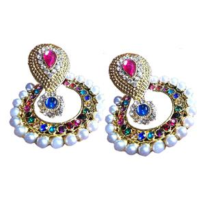 Multi Color Pearl Polki Earrings