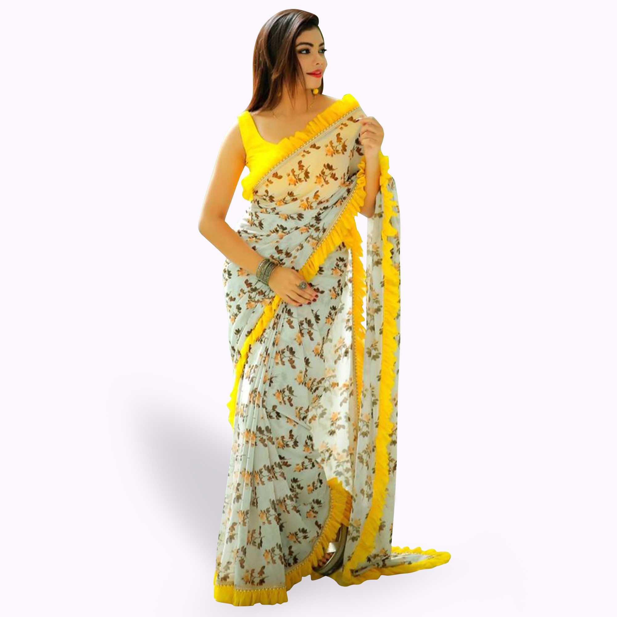 Classy White Colored Partywear Printed Georgette Saree