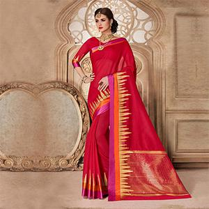 Red Designer Festive Wear Woven Liva Silk Saree