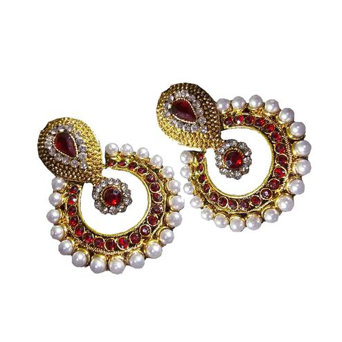 Maroon Pearl Polki Earrings