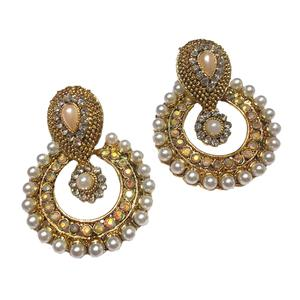 Golden Pearl  Antique Polki Earrings