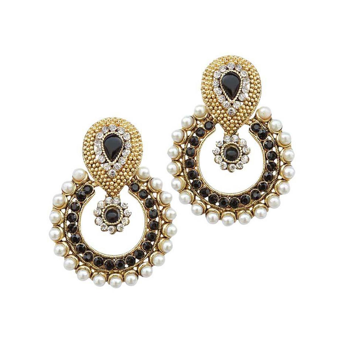 Black Stone Pearl Polki Earrings