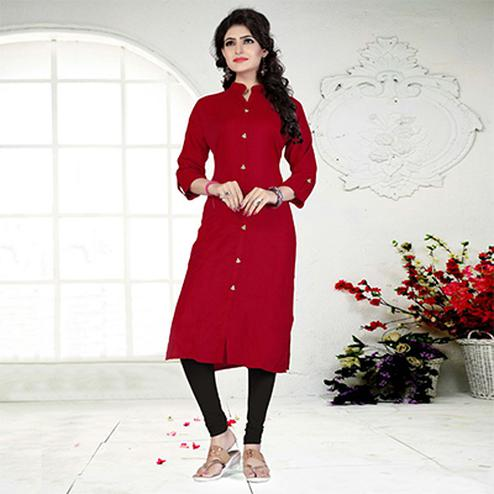 Red Casual Wear Rayon Kurti