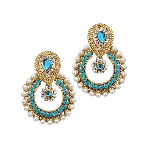 Blue Stone Pearl Polki Earrings